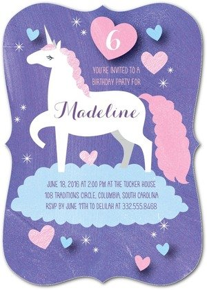 Dreamy Unicorn Birthday Party Invitation, Unicorn Party Invitations