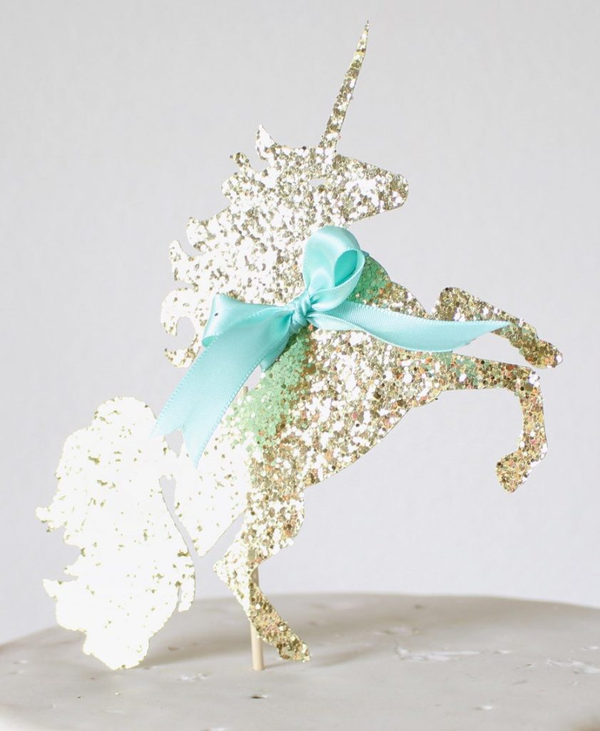 Gold Gltter and Turqoise Bow Unicorn Cake Topper, Unicorn Party