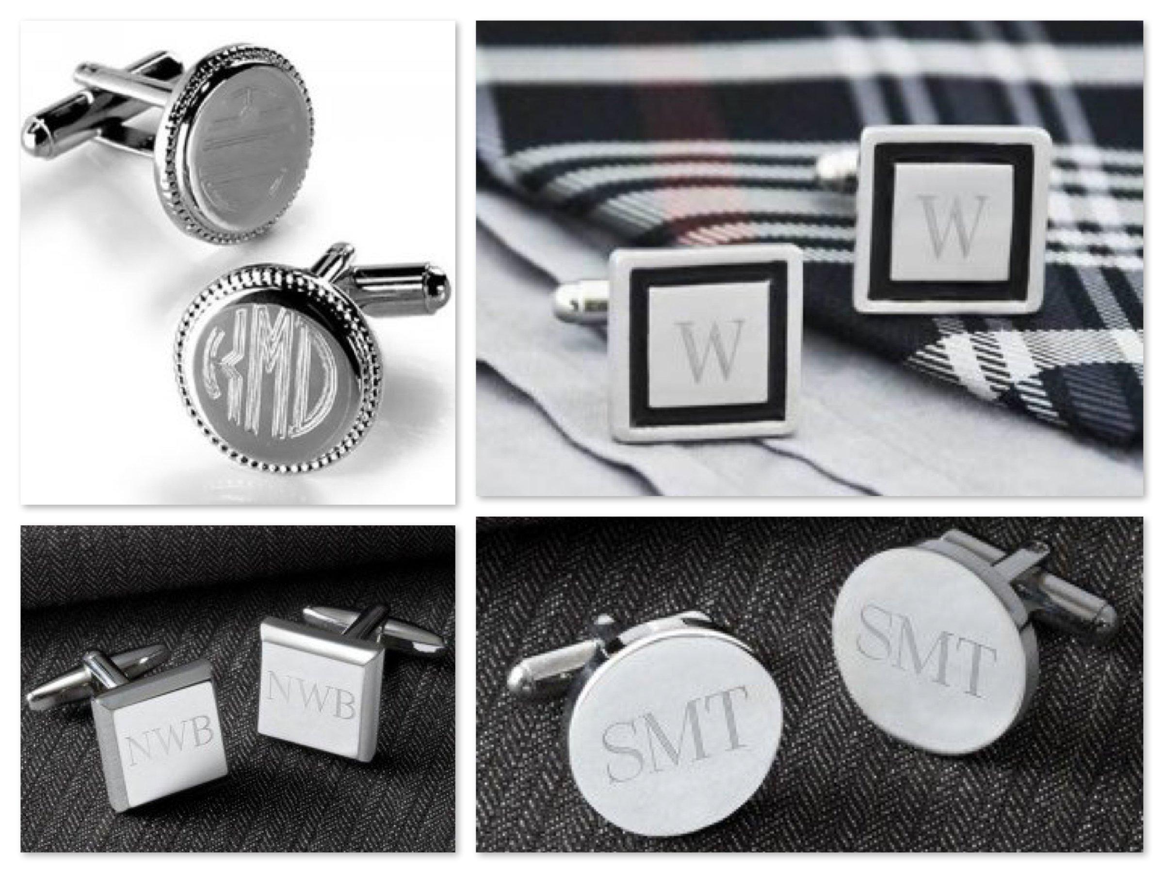 Monogrammed Cufflinks Mens Personalized Groomsmen Gifts