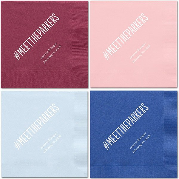 Personalized Wedding Hashtag Cocktail Napkins