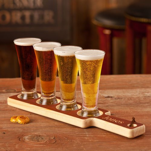Personalized Wood Carved Beer Tasting Set, Personalized Groomsmen Gifts