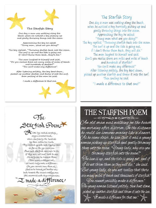 The Starfish Poem - Instant Downloads