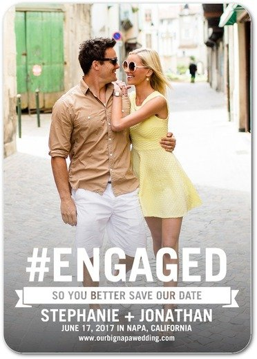 Trendy Engagement Save the Dates Hastag Engaged