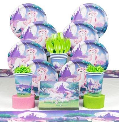Unicorn Fantasy Birthday Party Deluxe Tableware Kit, Unicorn Party
