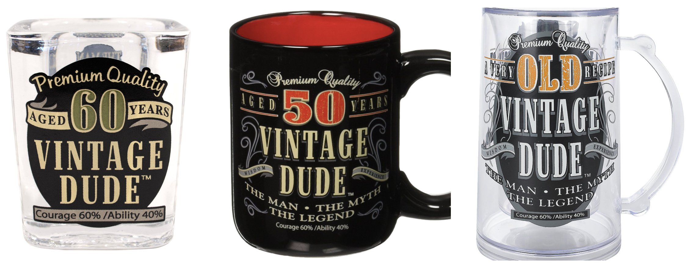 Vintage Dude Shot Glasses, Coffee Mugs, and Tankards