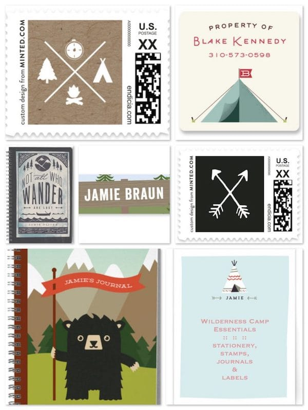 Wilderness Camp Essentials Stationery Labels Journals and Stamps