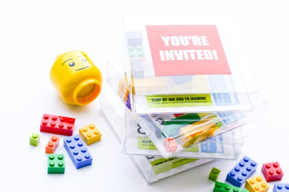 Boxed Lego Party Invitations