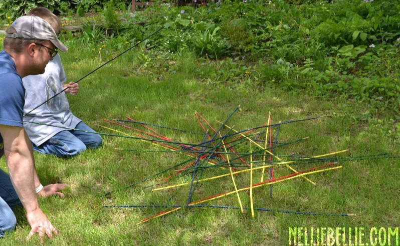 DIY Giant Backyard Pick-up Stick Game, Fathers Day Fun