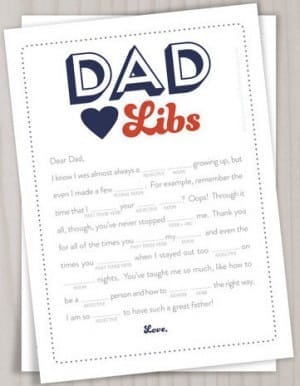 Fathers Day Dad Libs Card