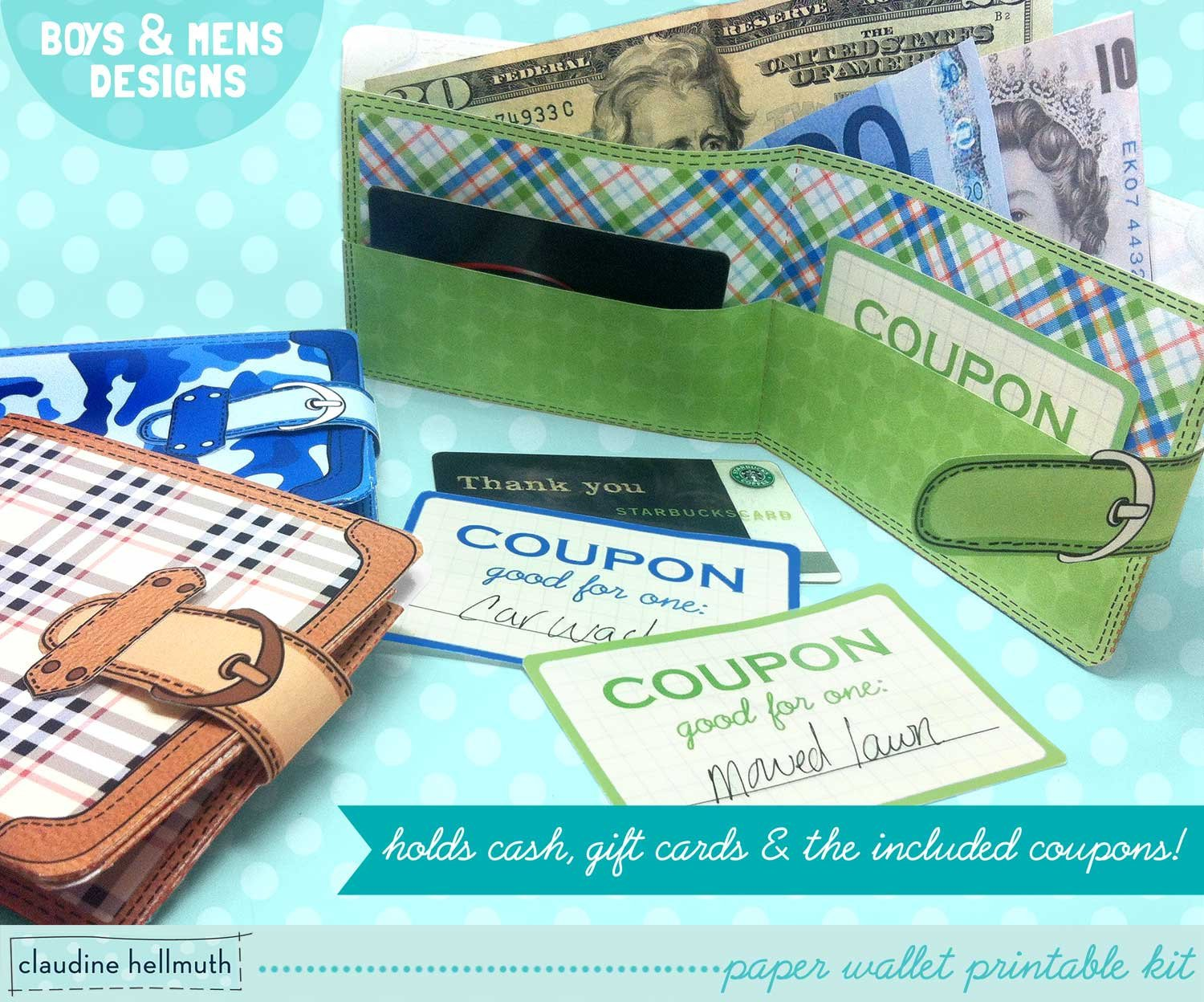 Fathers Day Printable paper wallets with chore coupons