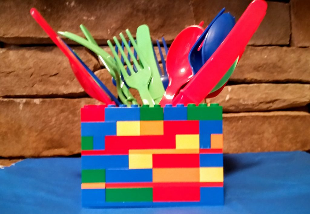Lego Birthday Party 3D Utensil Holder Table Centerpiece