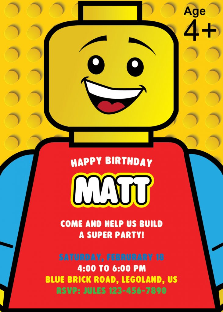 This is an image of Simplicity Printable Lego Birthday Invitations