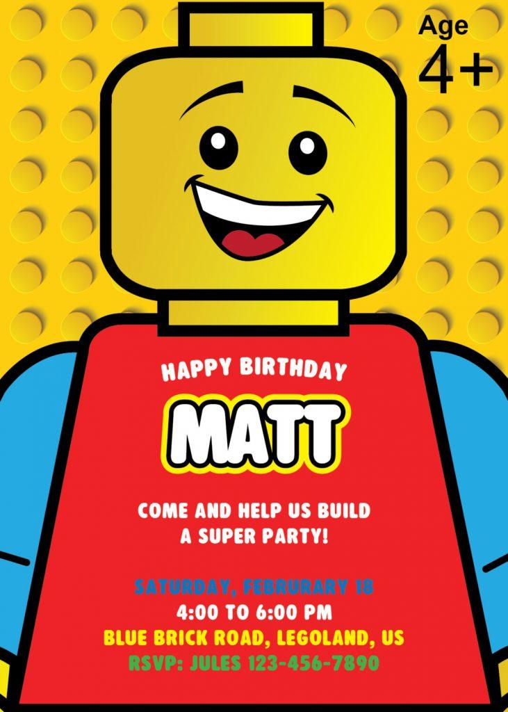 Lego Birthday Party Invite
