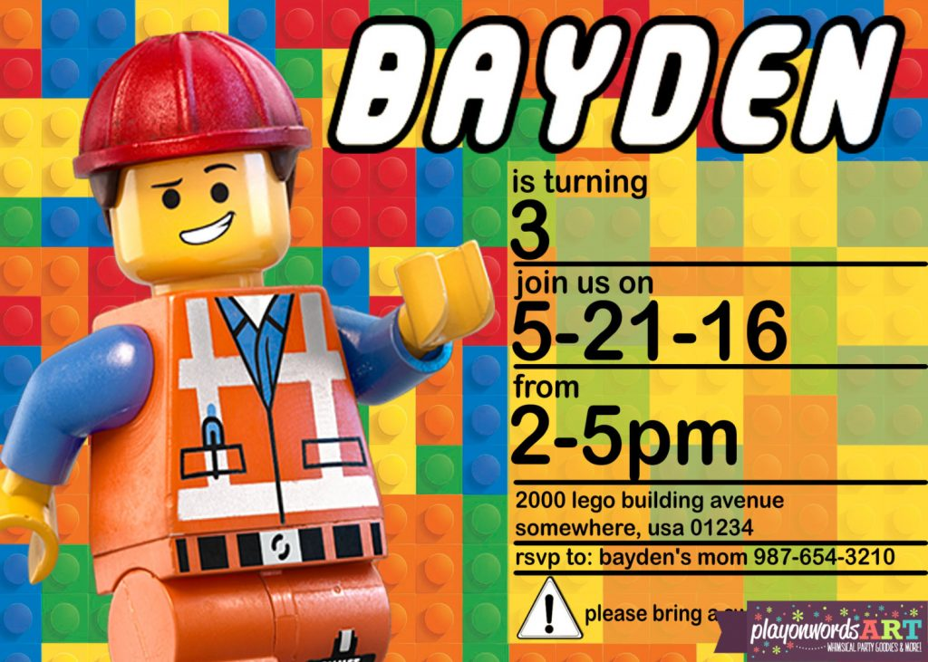 printable lego party invitation