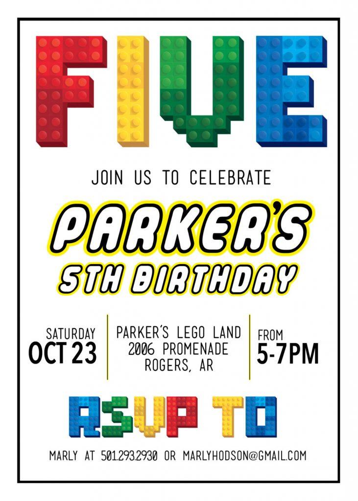 Lego Theme Birthday Party Invitation