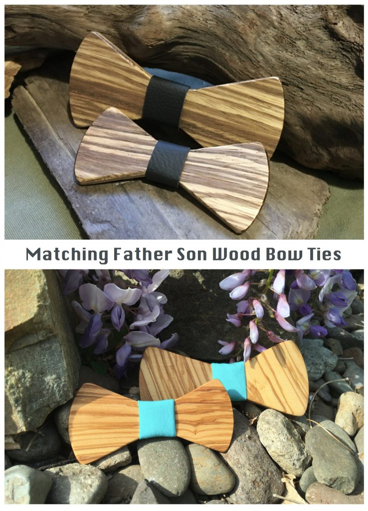 Matching Father Son Wood Bow Ties