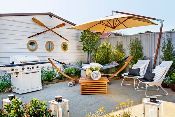 Easy Home Updates for Outdoor Entertaining, Eclectic Fun in the Shade