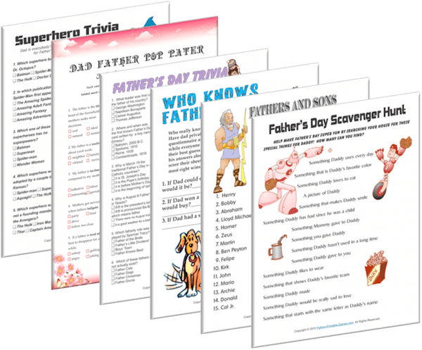 Printable Fathers Day Games