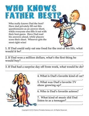 Who Knows Father Best Printable Fathers Day Games