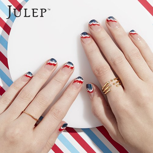 Striped Patriotic Nail Art