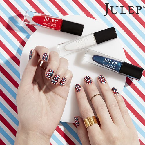 Dotted Patriotic Nail Art