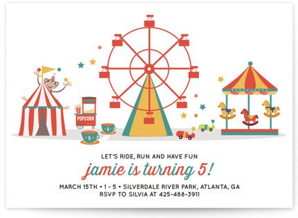 Theme Park Ferris Wheel Children's Birthday Party Invitations