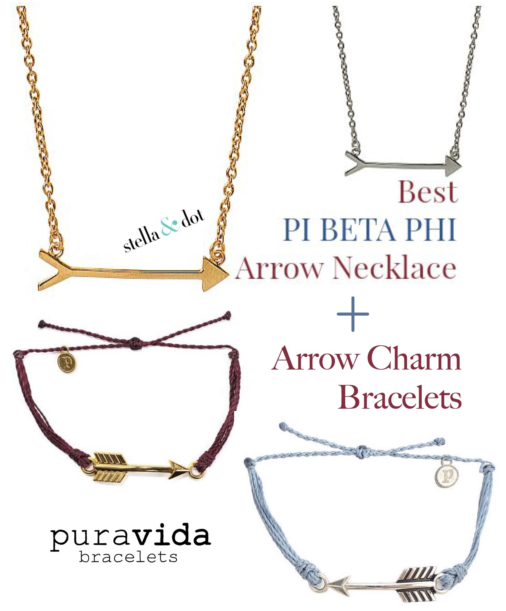 Best Pi Beta Phi Arrow Necklaces and Arrow Bracelets