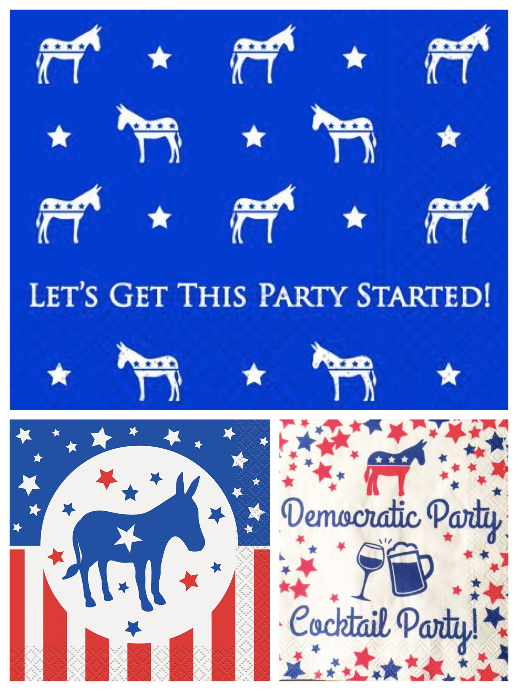 Democratic Party Election Cocktail Napkins