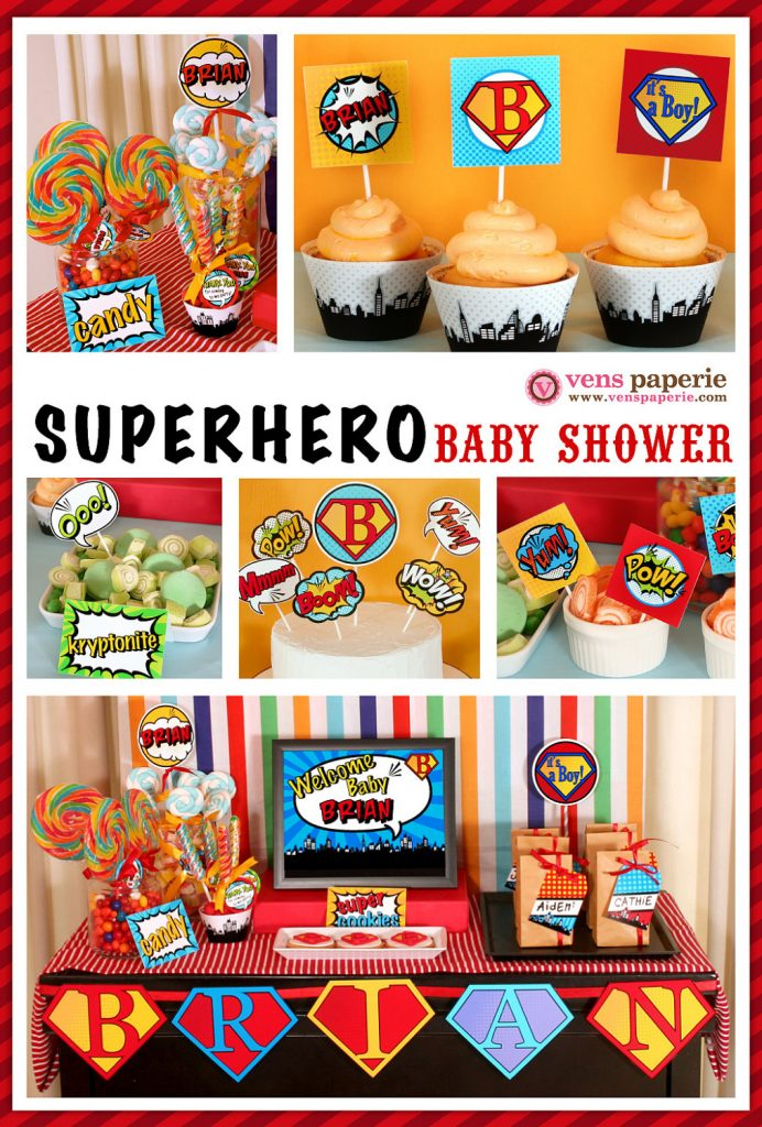 Printable Superhero Baby Shower Supplies