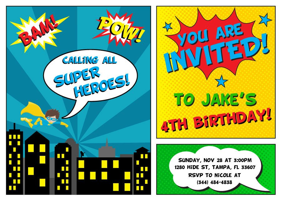 Printable Superhero Invitations