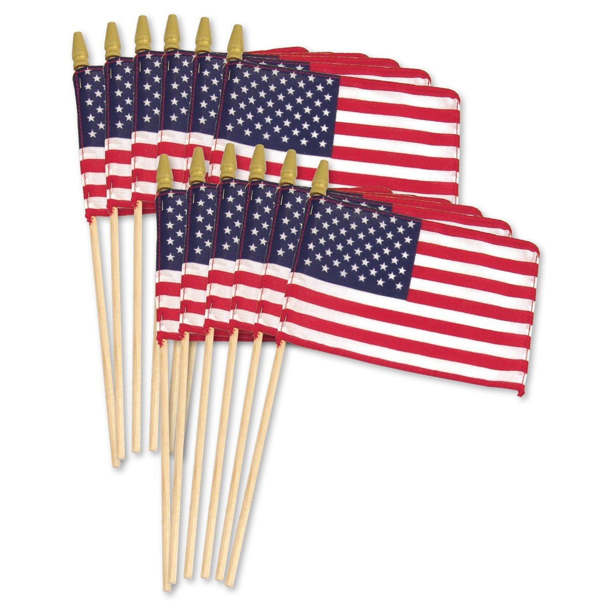 Us Flag on Wood Stick