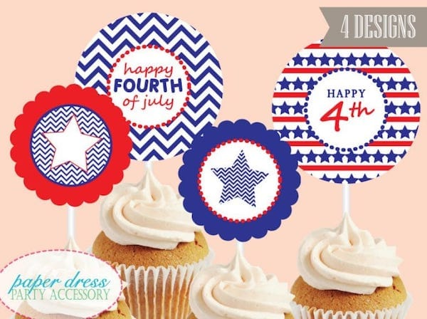 July 4th Cupcake Dessert Printable