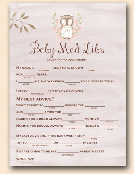 Baby Owl Mad Libs