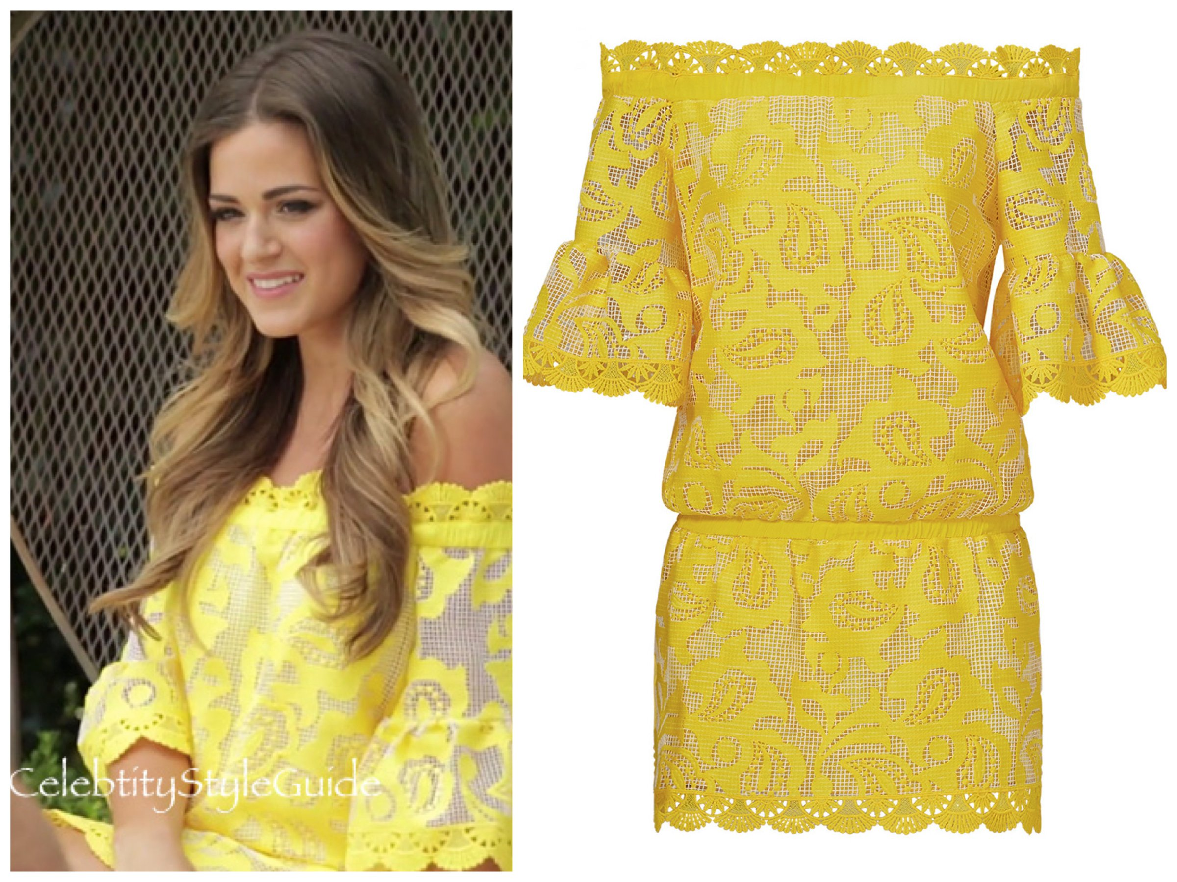 Bachelorette JoJo Fletcher in Alexis Yellow Lace Kit Dress, JoJo Fletcher's Bachelorette Looks