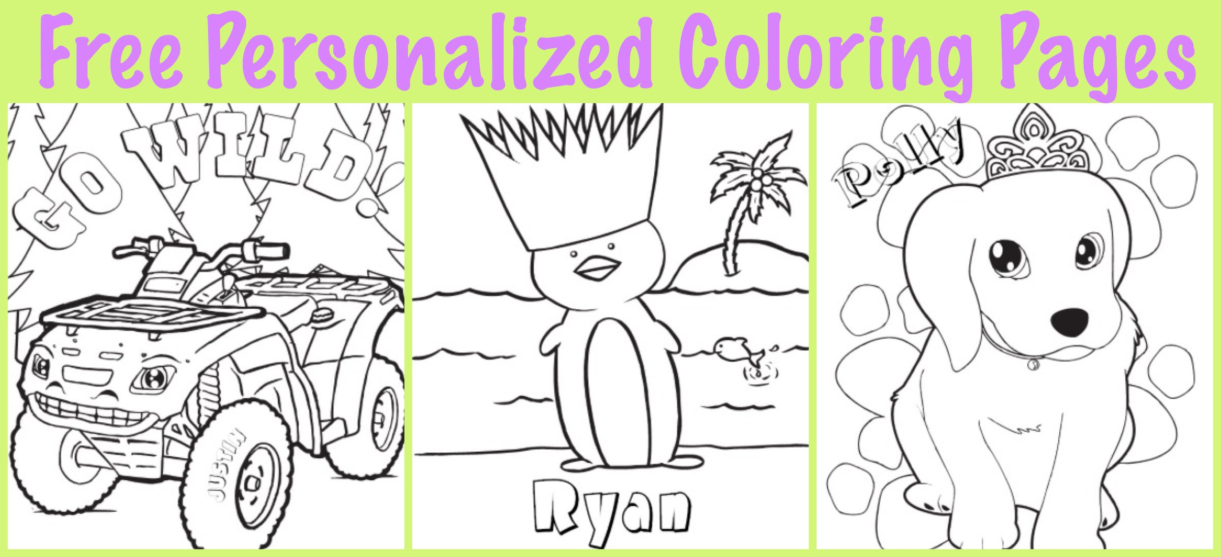 FREE Personalized Printable Coloring Pages for Kids | PartyIdeaPros.com
