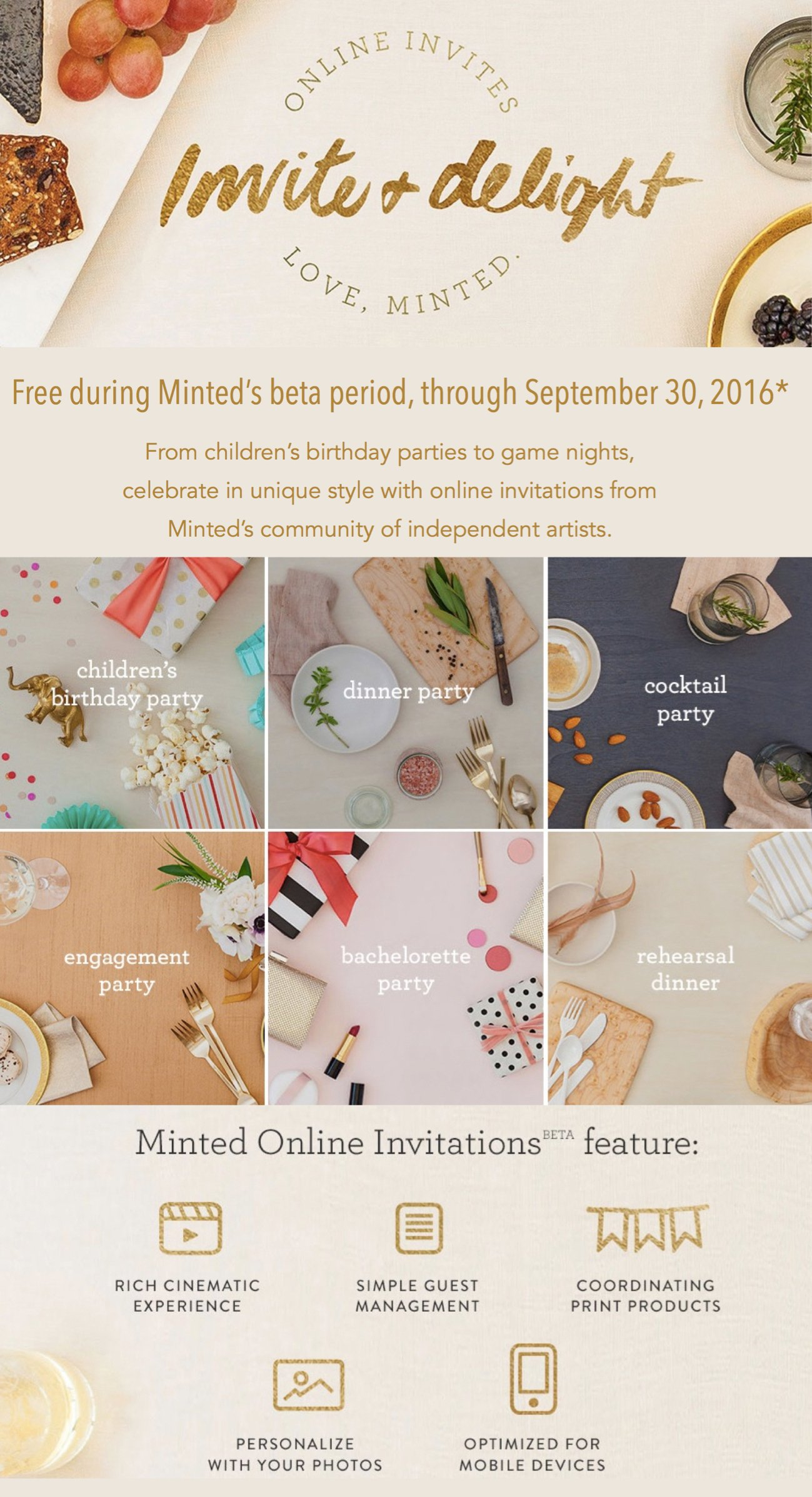 Minted's Online Invitations Free for a Limited Time