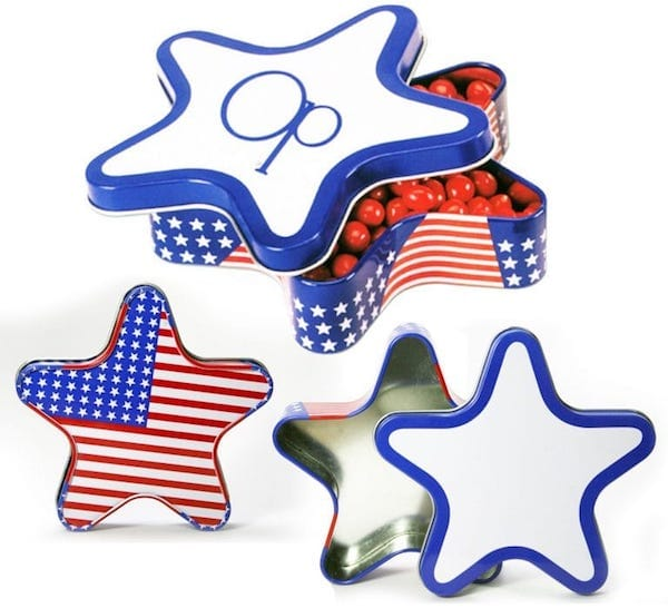 Patriotic Star Tin Party Favors