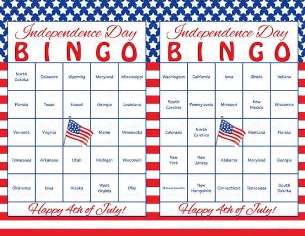 photograph relating to 4th of July Trivia Printable named Printable Patriotic Online games Bash Actions