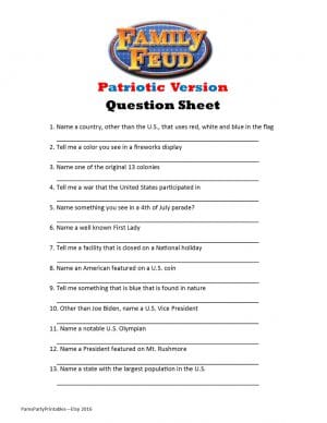 Mesmerizing image in family feud questions and answers printable free