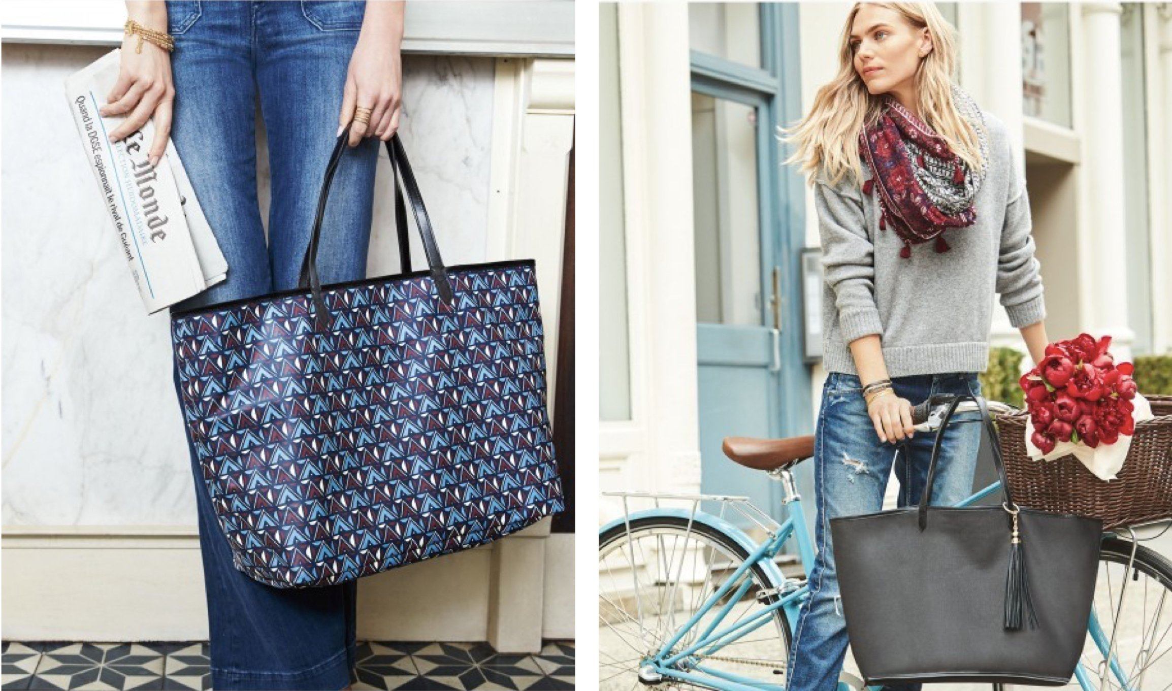 Reversible Voyage Tote in Black & Tribal Prints, back to school tote