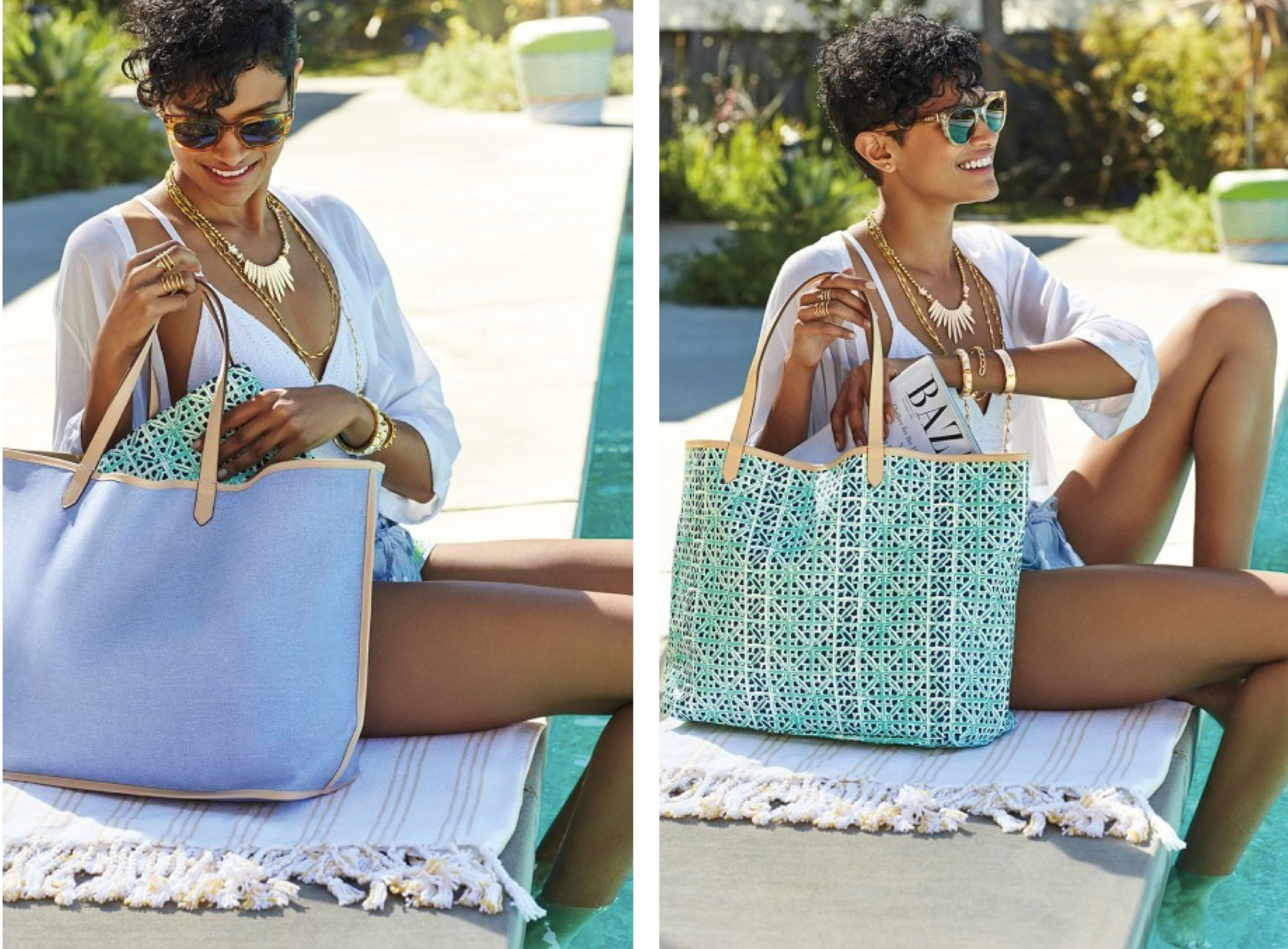 Reversible Voyage Tote in Chambray & Mint Prints, back to school tote