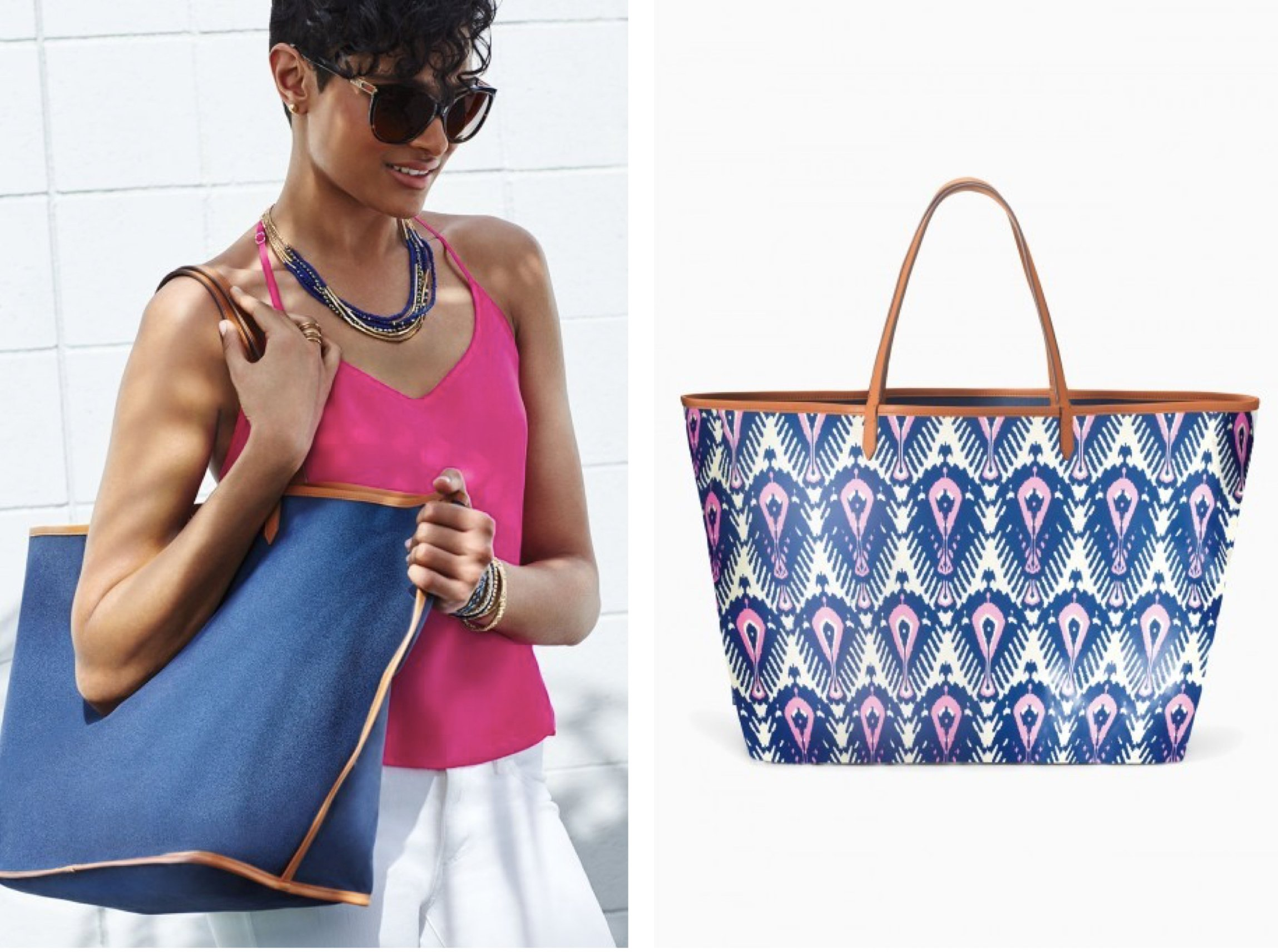 Reversible Tote in Denim & Ikat Prints, back to school tote