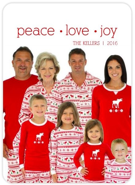 Peace Love Joy Holiday Photo Cards with Matching Moose Pajamas