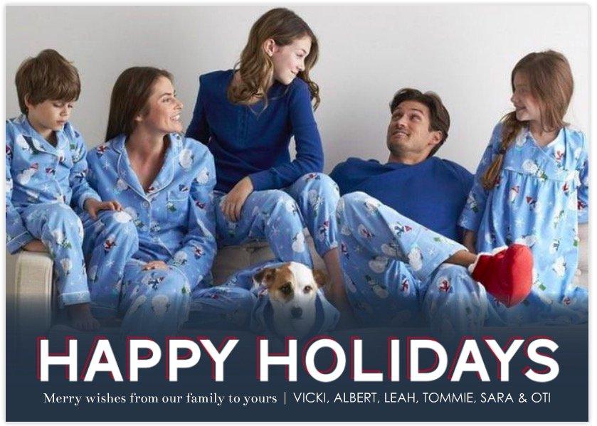 Happy Holidays Holiday Photo Cards & Matching Family Snowman Pajamas