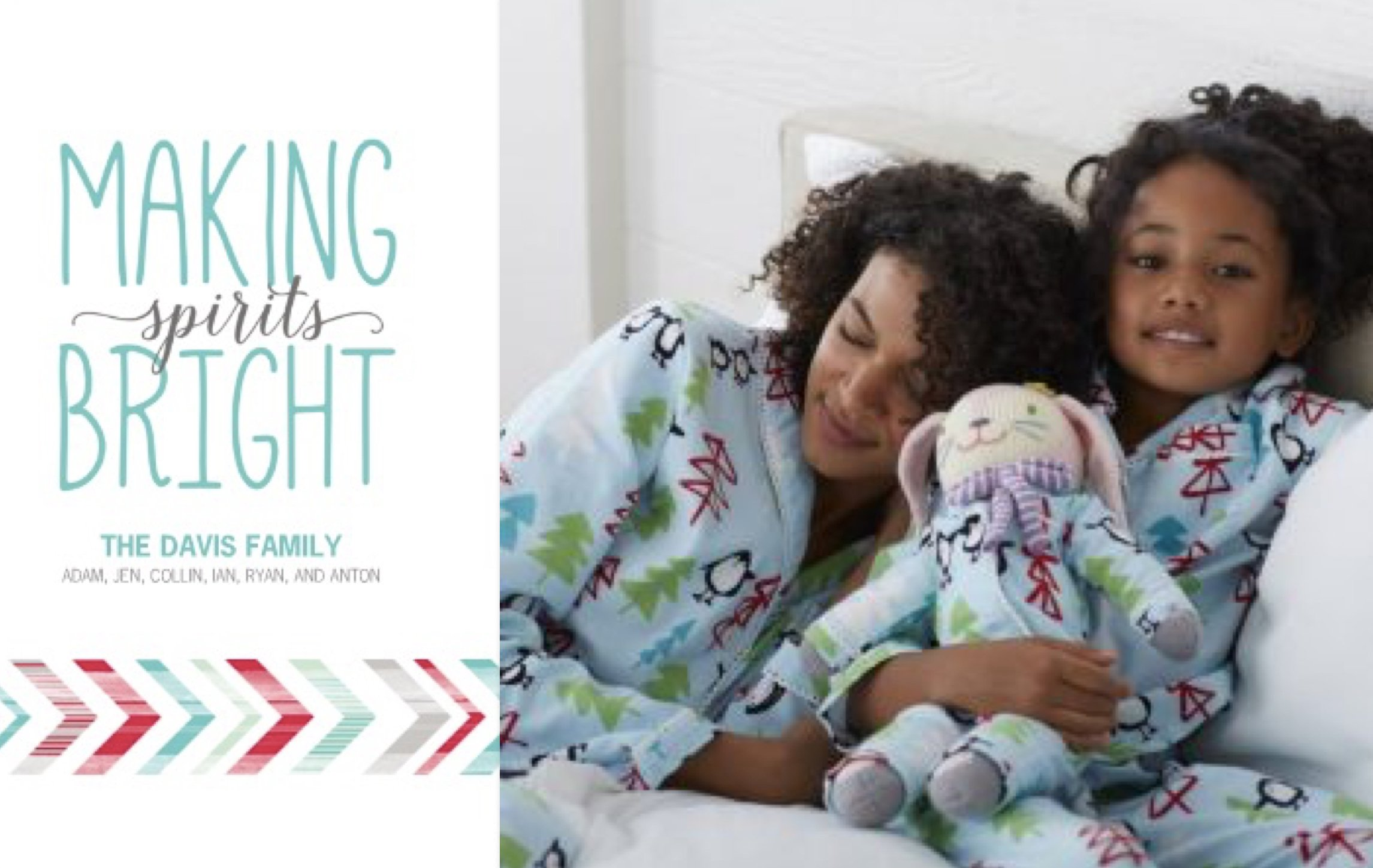 Mommy and Me Matching Holiday Pajamas Holiday Photo Cards