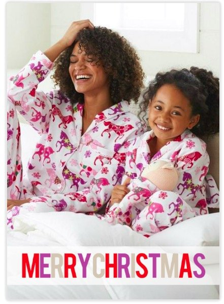 Mommy and Me Match in Carousel Pajamas on Bold Merry Christmas Holiday Photo Cards