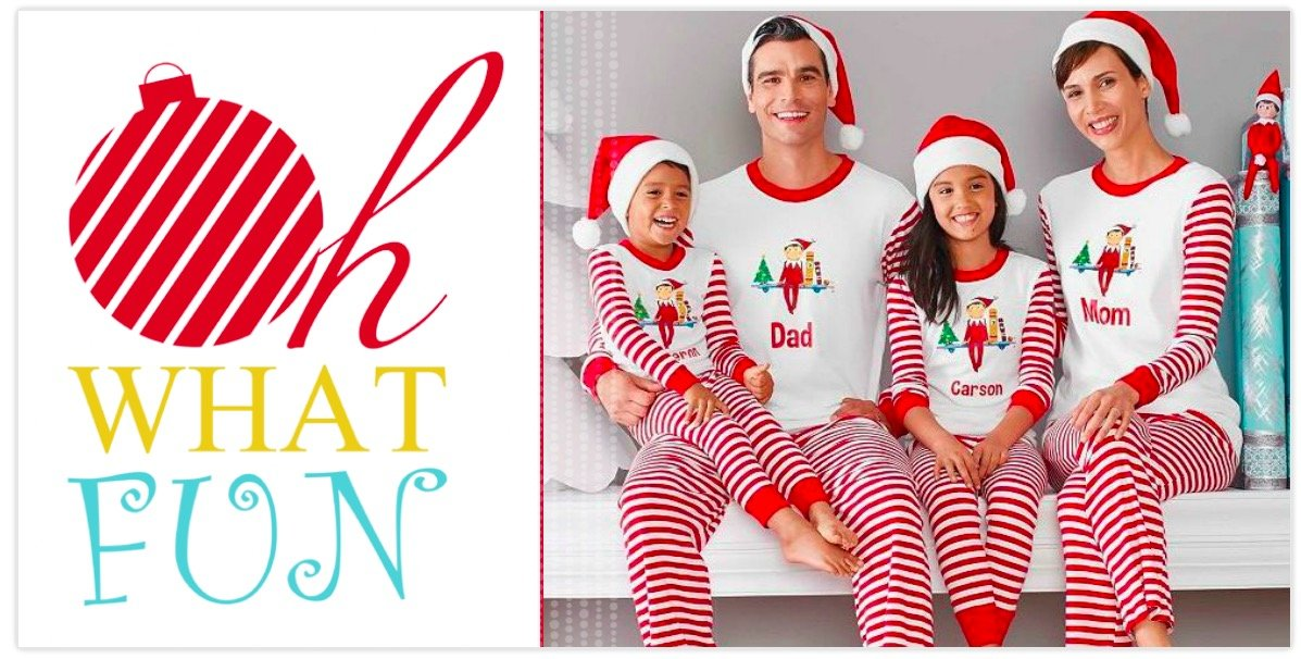 Oh What Fun Family Matching Elf on a Shelf Pajama Holiday Photo Cards