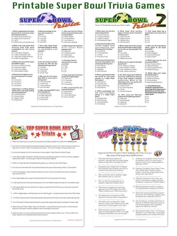 Printable Super Bowl Trivia Games