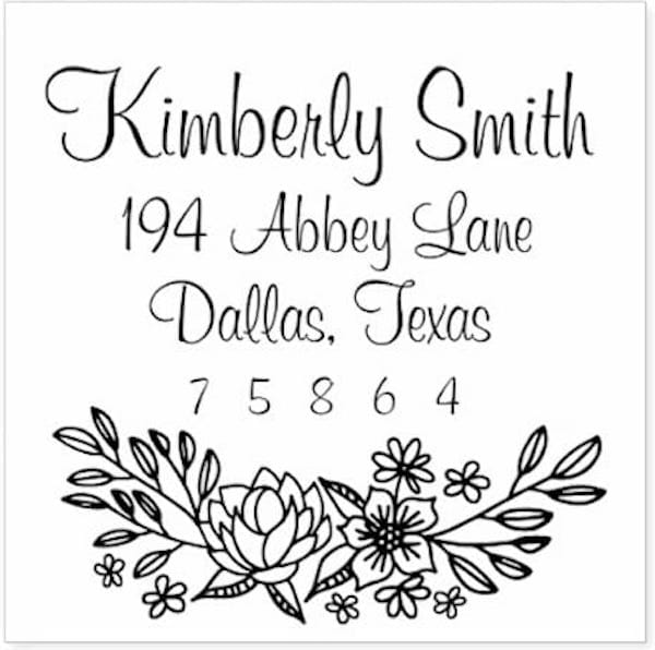 Floral Doodle Return Address Stamp, Custom Stamps and Embossers