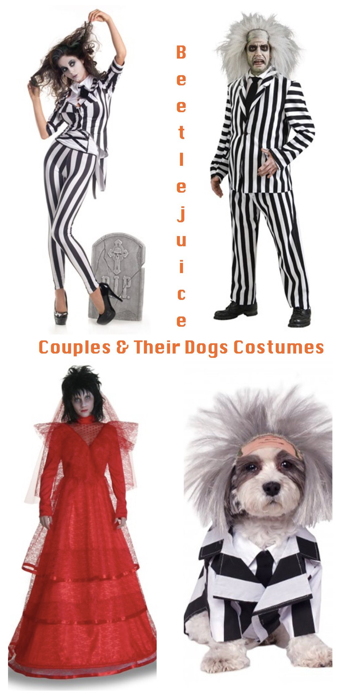 Beetlejuice Couples and Their Dogs Costumes